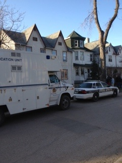The Winnipeg police identification unit at the 100 block of Lorne Avenue in Point Douglas.