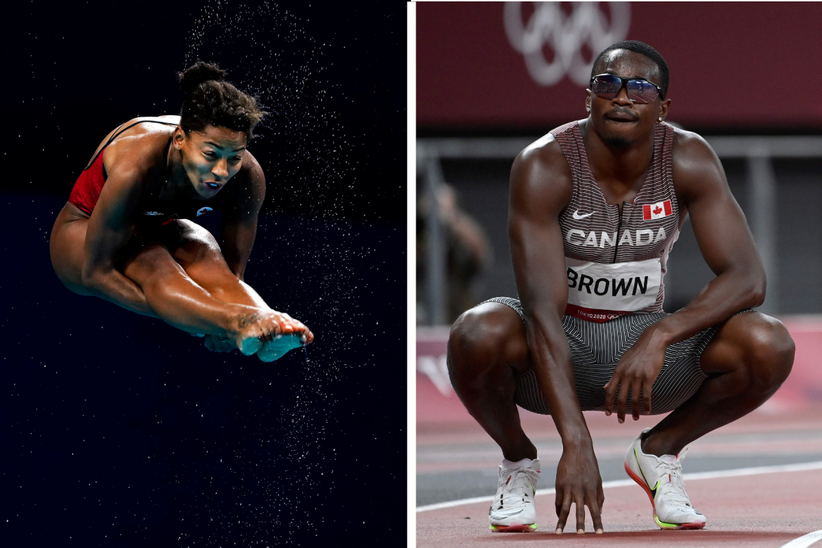 Canadian diver Jennifer Abel found her boyfriend down on one knee when she got back to the airport. Sprinter Aaron Brown ran with a photo of his wife and daughter under his bib.