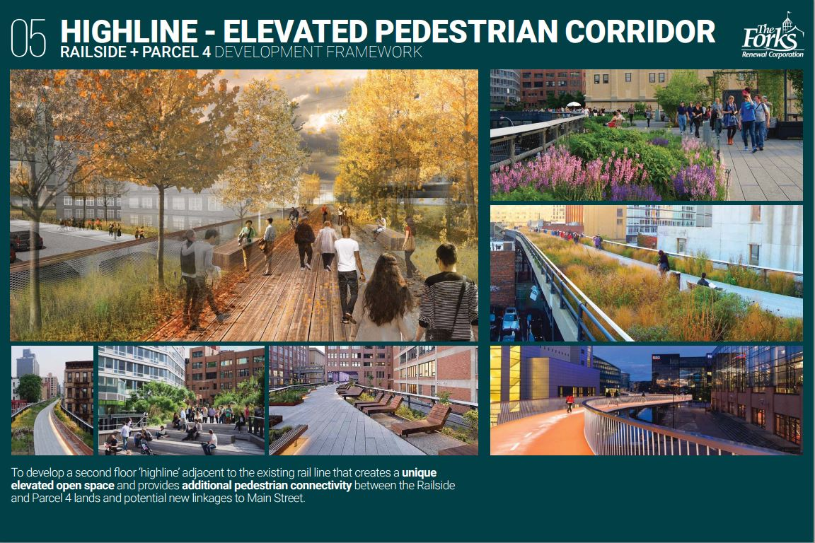 Another idea: to develop a second floor, adjacent to the existing rail line that creates a unique elevated open space and provides additional pedestrian connectivity between the Railside and Parcel 4 lands and potential new linkages to Main Street.