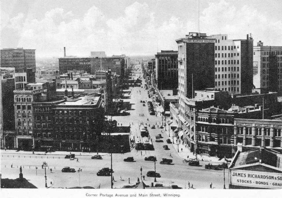 Portage Avenue and Main Street, looking west down Portage, in 1956. (Winnipeg Free Press Archives)