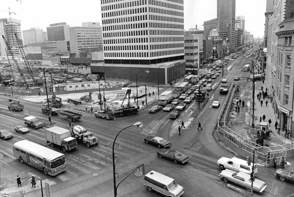 Construction starts on the Trizec Building (360 Main Street) and the Winnipeg Square underground mall at Portage and Main, February 22, 1977. (Winnipeg Free Press Archives)