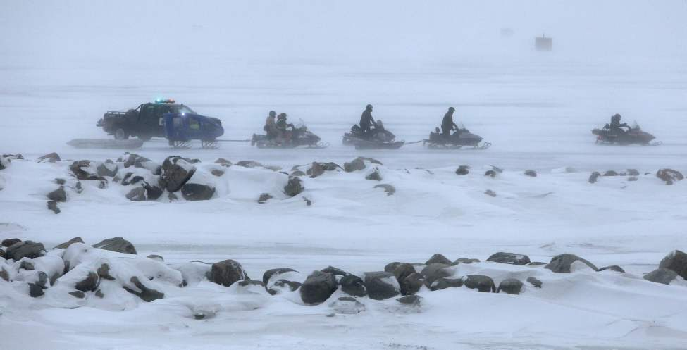 Emergency crews at Balsam Bay Harbour go out on Lake Winnipeg where a report of a truck through the ice is investigated. January 11, 2012 (BORIS MINKEVICH / WINNIPEG FREE PRESS)