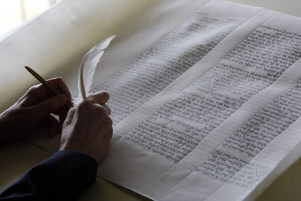 Irma Penn is the scribe, writing the letters of the hand-written Torah. Penn is the first woman in Canada to hand write the Torah. April 10, 2012 (KEN GIGLIOTTI  / WINNIPEG FREE PRESS)