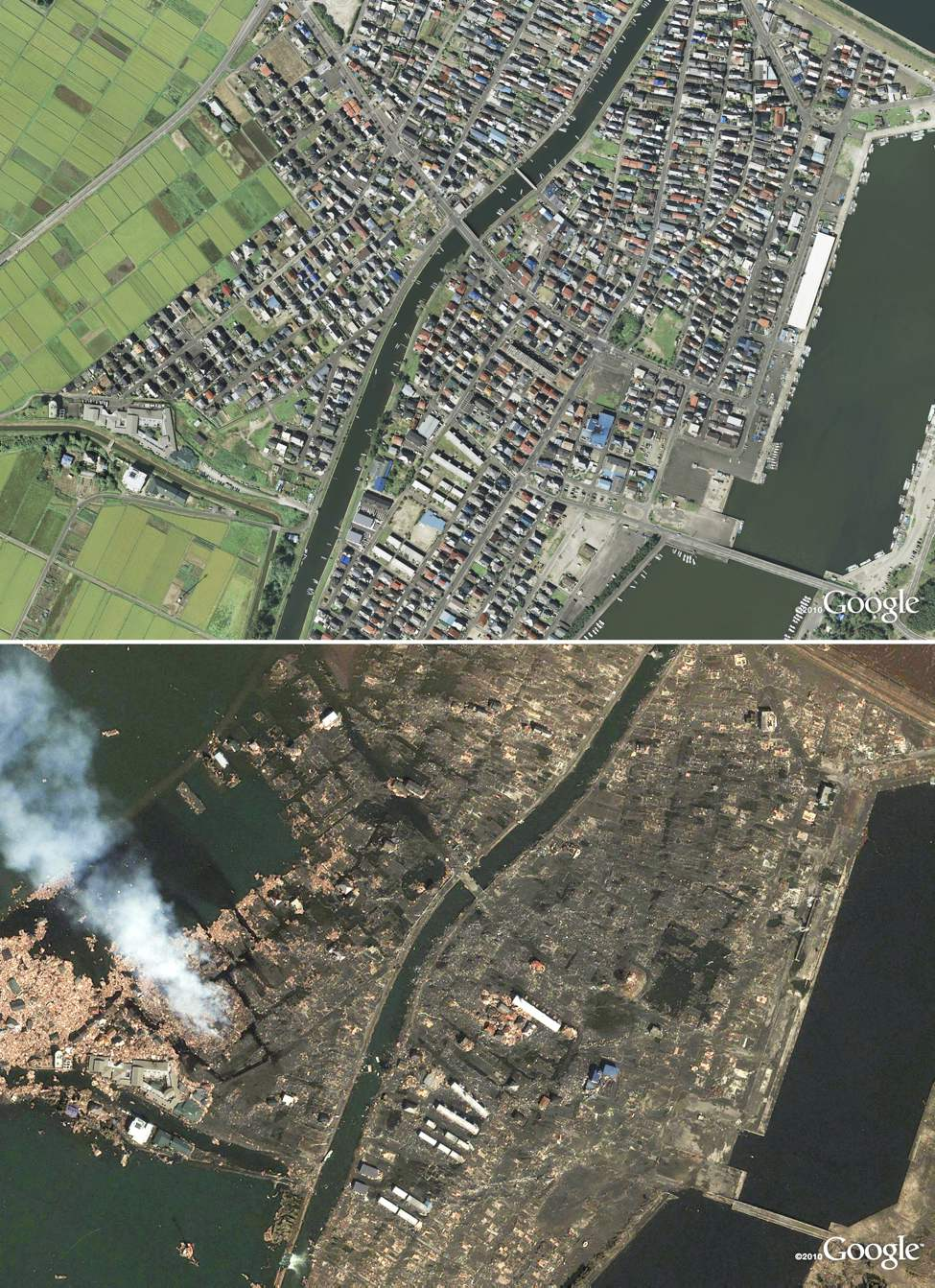 Stand-alone photo shows a combination of two satellite images provided to the media on Sunday: Yuriage in Natori, Japan, is seen in 2008, at top, and after the 8.9 magnitude earthquake and subsequent tsunami.  (Google Inc. via Bloomberg.)
