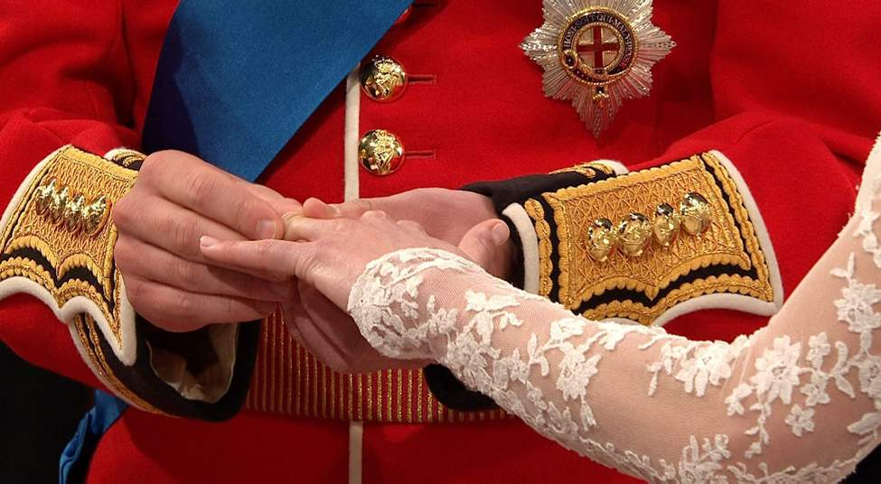 In this image taken from video, Britain's Prince William, left, places the ring on the finger of his bride, Kate Middleton, as they stand at the altar at Westminster Abbey for the Royal Wedding in London on Friday, April, 29, 2011. (AP Photo/APTN) (CP)