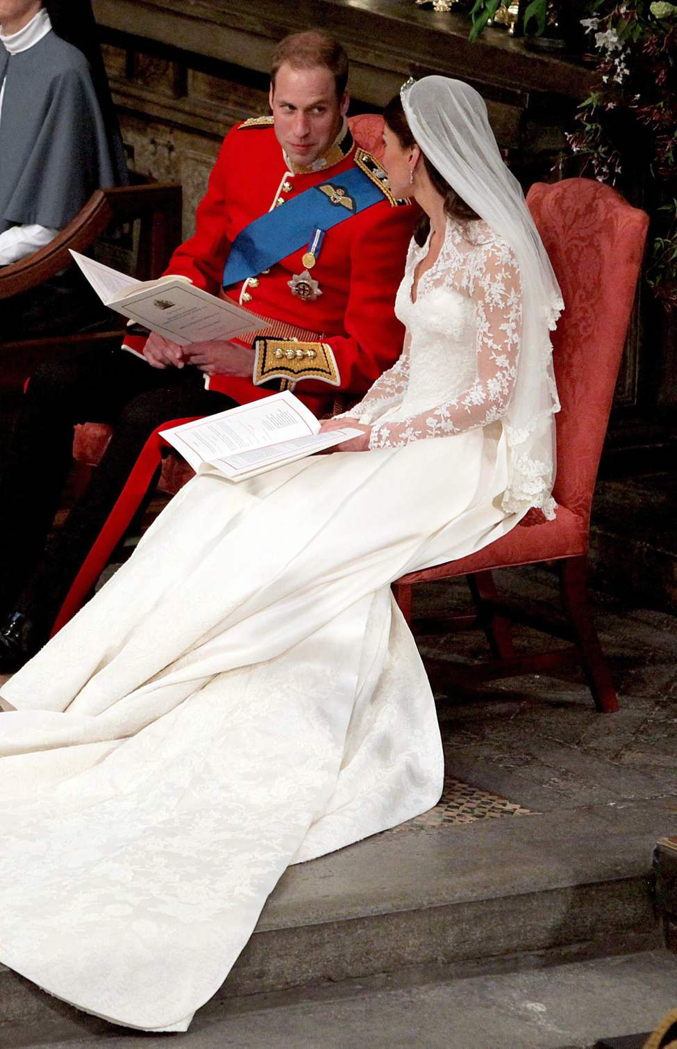 Britain's Prince William and Kate Middleton at Westminster Abbey, London, during their wedding service, Friday April 29, 2011. (AP Photo/Anthony Devlin, Pool)