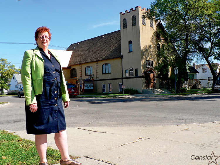 Mary Best, minister at Atlantic-Garden City United Church, says elevator construction will be completed in November.