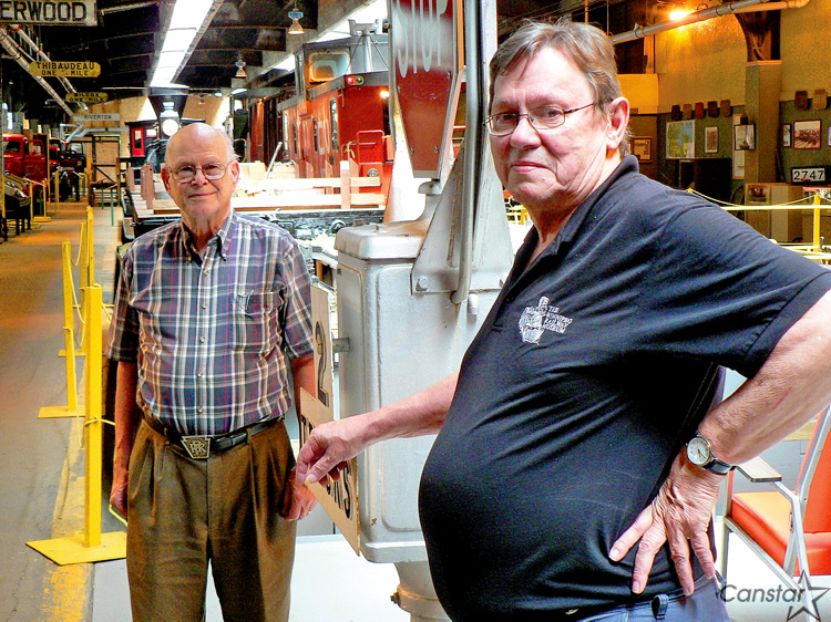 Norm Leathers, left, and Doug Bell at the Winnipeg Railway Museum.