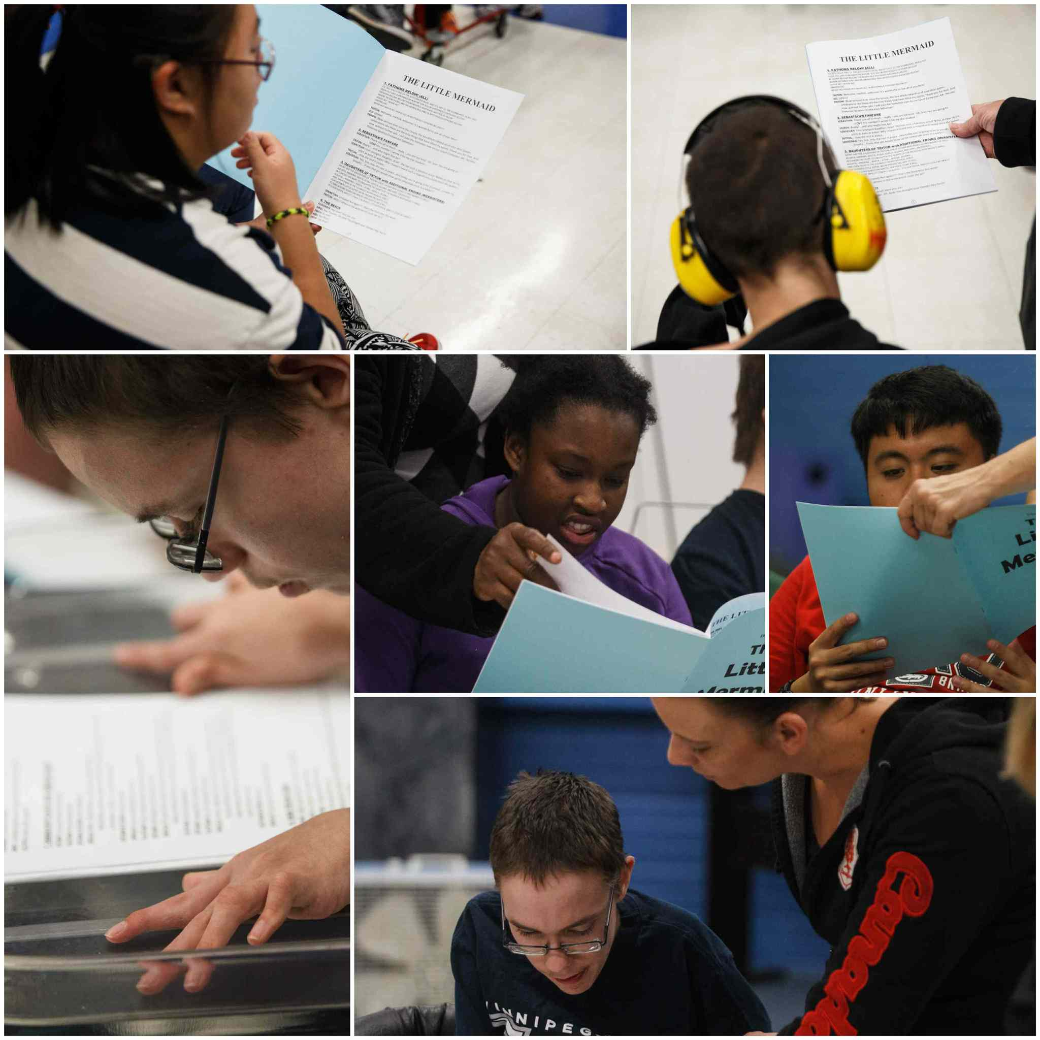 Students get their first look at the script for The Little Mermaid.  (Mike Deal / Winnipeg Free Press)