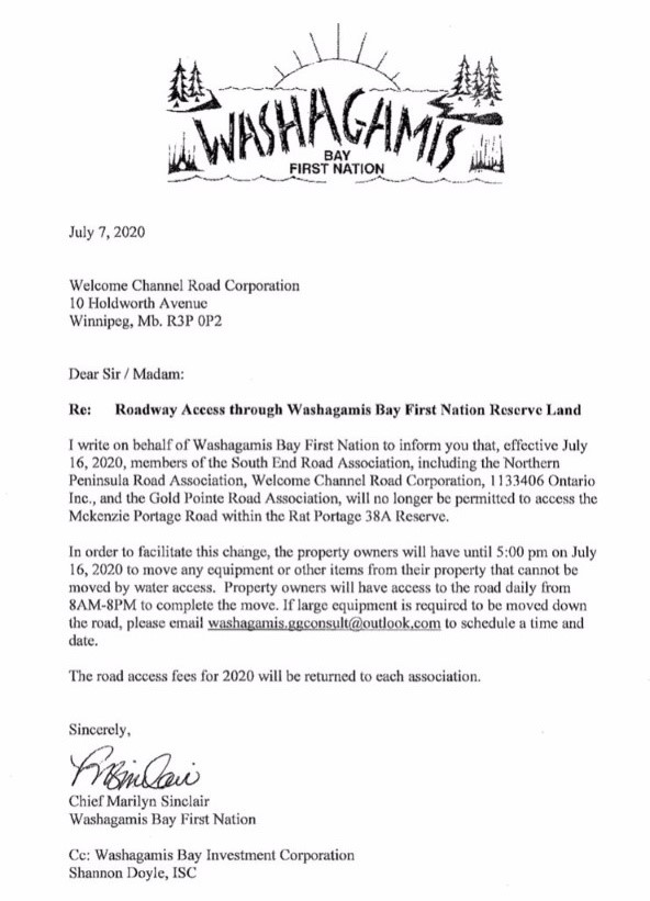 The letter from the Washagamis Bay First Nation regarding road access.