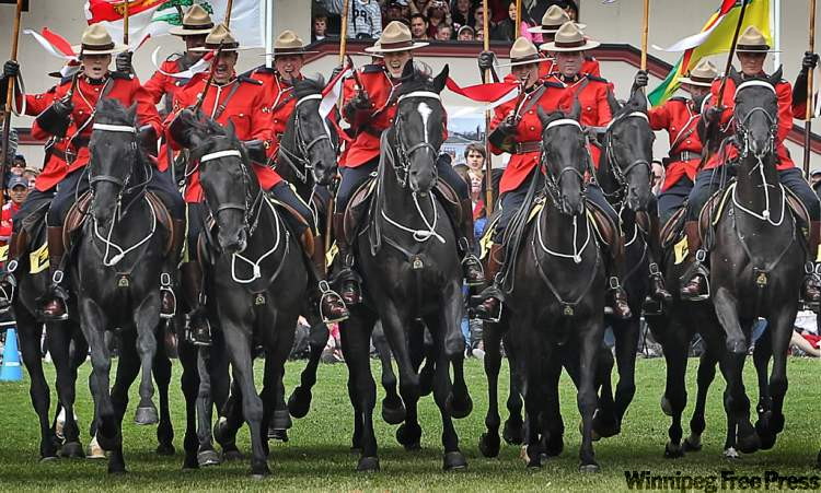 RCMP Musical Ride performs famous charge on west lawn of Parliament Hill.