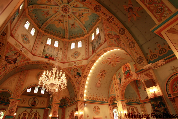 The Historic Ukrainian Catholic Church of the Resurrection, built in the Kievan style and completed in 1939, was designed by Rev. Phillip Ruh. It has five domes representing Christ and his four evangelists. The interior icons were painted by Theodore Baran in 1957-58, and the chandelier, with 1,600 pieces of Czech crystal, was purchased in 1962.