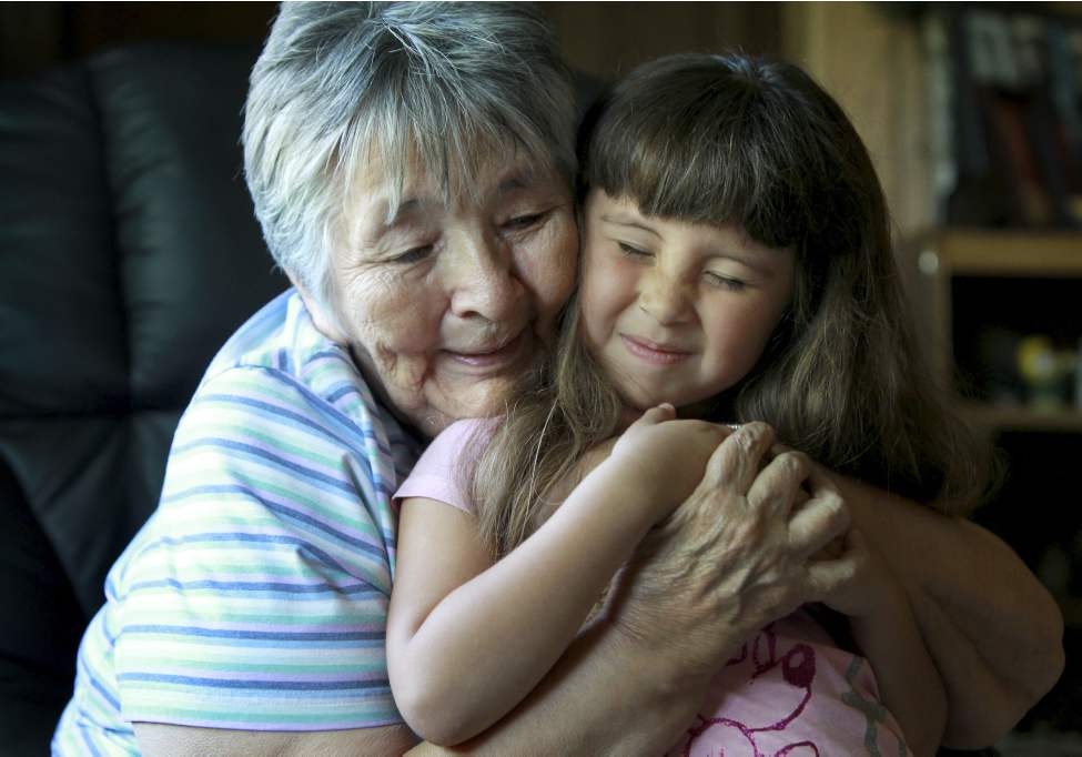 Grace Zoldy is passing on the Michif language to four-year-old Billie-Dawn.