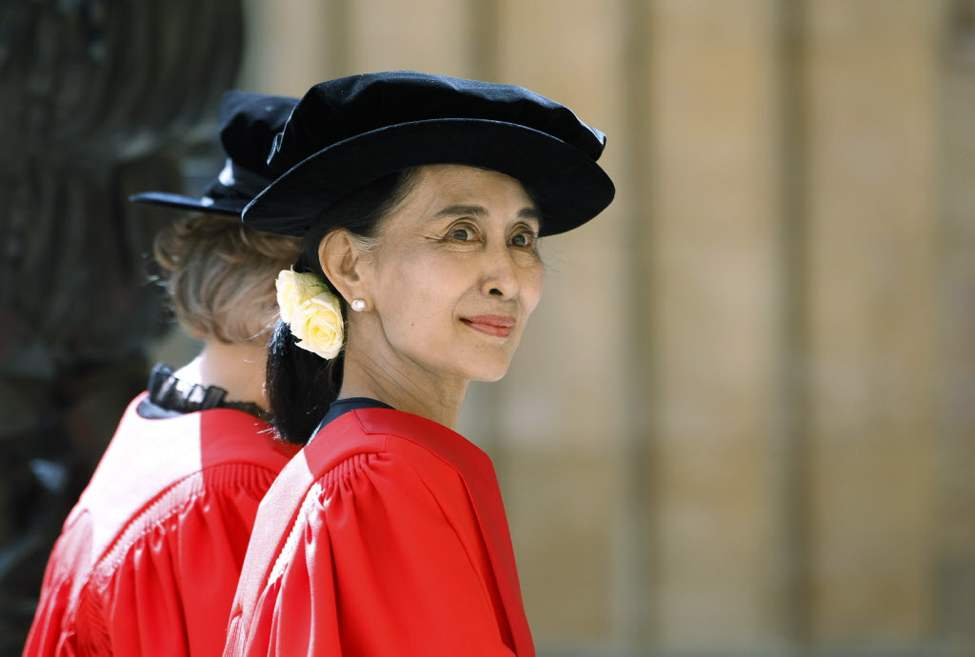 It was a long wait, but Aung San Suu Kyi has finally received her honorary degree from Oxford University. The leader of Myanmar's opposition is being honored Wednesday at the university's Encaenia ceremony, where it presents honorary degrees to distinguished people. (AP Photo/Lefteris Pitarakis)