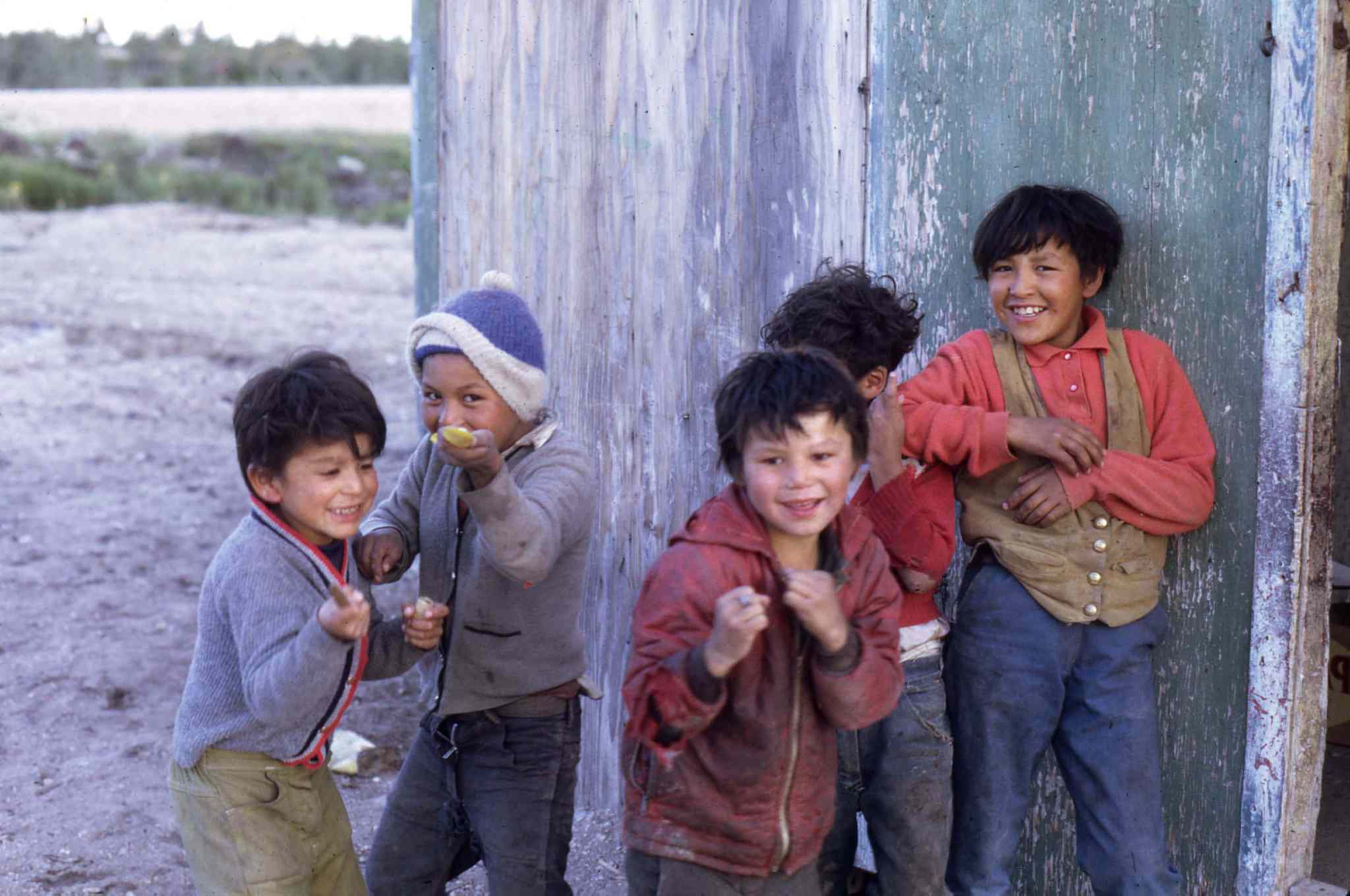 WILLIAM KOOLAGE PHOTO</p><P>Children in Dene Village in Churchill, 1968