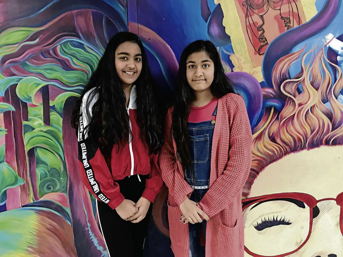 (From left) Sisters Mandeep and Manpret Saini, both Grade 8 students at Salisbury Morse Place School, were among 36 girls from River East Transcona School Division who took part in the STEM From Dance program at Garden City Collegiate on April 4. (SHELDON BIRNIE/CANSTAR/THE HERALD)