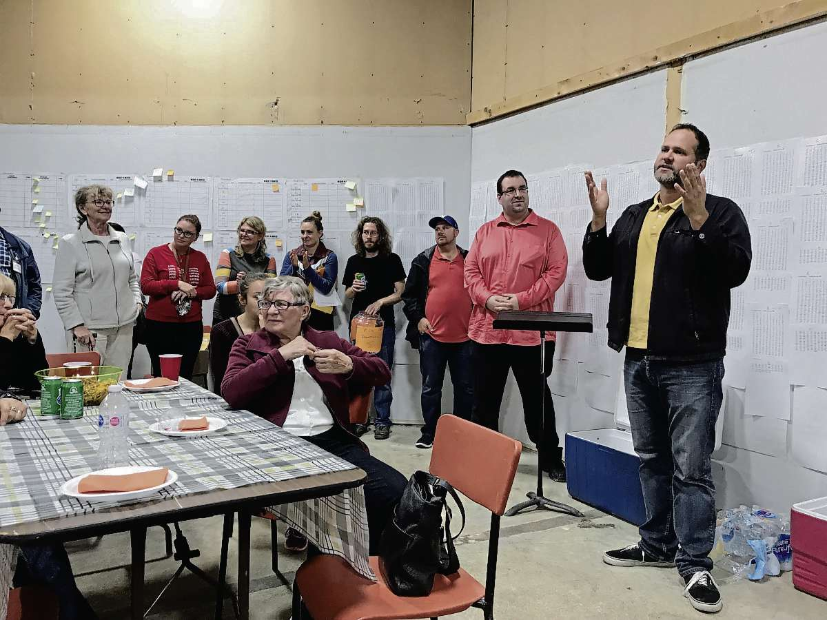 Sept. 10, 2019 - Matt Wiebe thanked volunteers for their hard work during the provincial election campaign following his re-election in Concordia. (SHELDON BIRNIE/CANSTAR/THE HERALD)