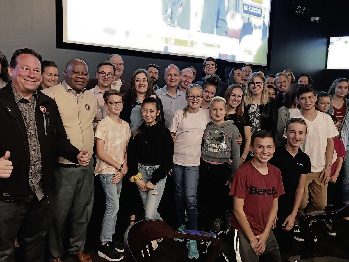 Sept. 10, 2019 - Andrew Micklefield was surrounded by family, friends, and supporters at HalfTime Sports Bar on Gateway Road as results of the provincial election were announced. Micklefield was re-elected as MLA for Rossmere. (SHELDON BIRNIE/CANSTAR/THE HERALD)