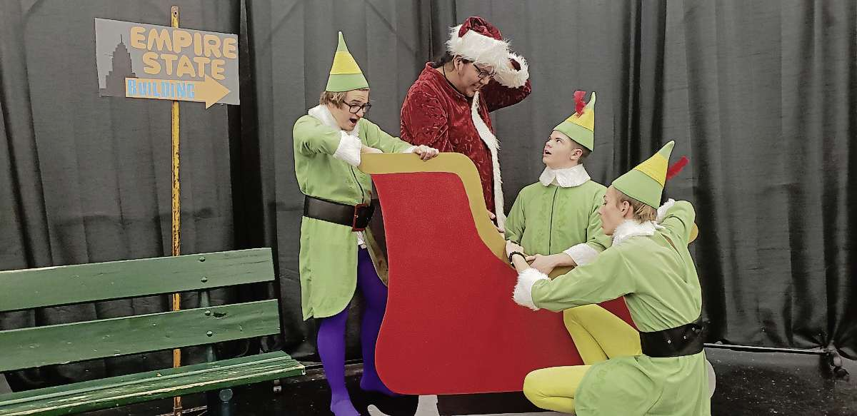 (From left) Kyle Davidson, Isaiah Hunt, Jackson Boissoneault, and Evan Llewellyn rehearse a scene in Elves, which KEC's drama club will perform Nov. 26 to 30 at the school.