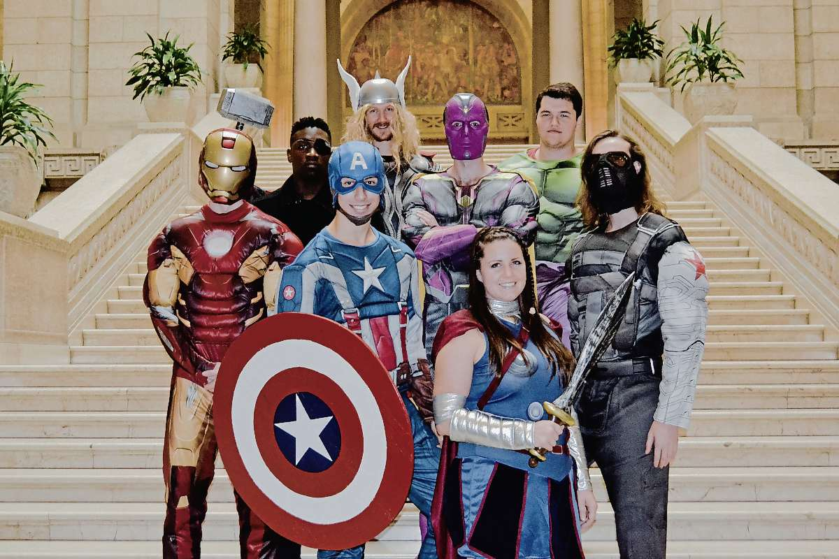 Some members of the Winnipeg Avengers group dressed up to collect non-perishable food items for their fifth Halloween this year. Many other volunteers worked behind the scenes, driving vans or SUVs and delivering flyers. Pictured, from left: Evan Kraushar, Misan Odidison, Cormac Foster, Kyle Pieper, Bryce Kraushar, Karen Pieper, Joshua Dielmann, Dwayne Kraushar.