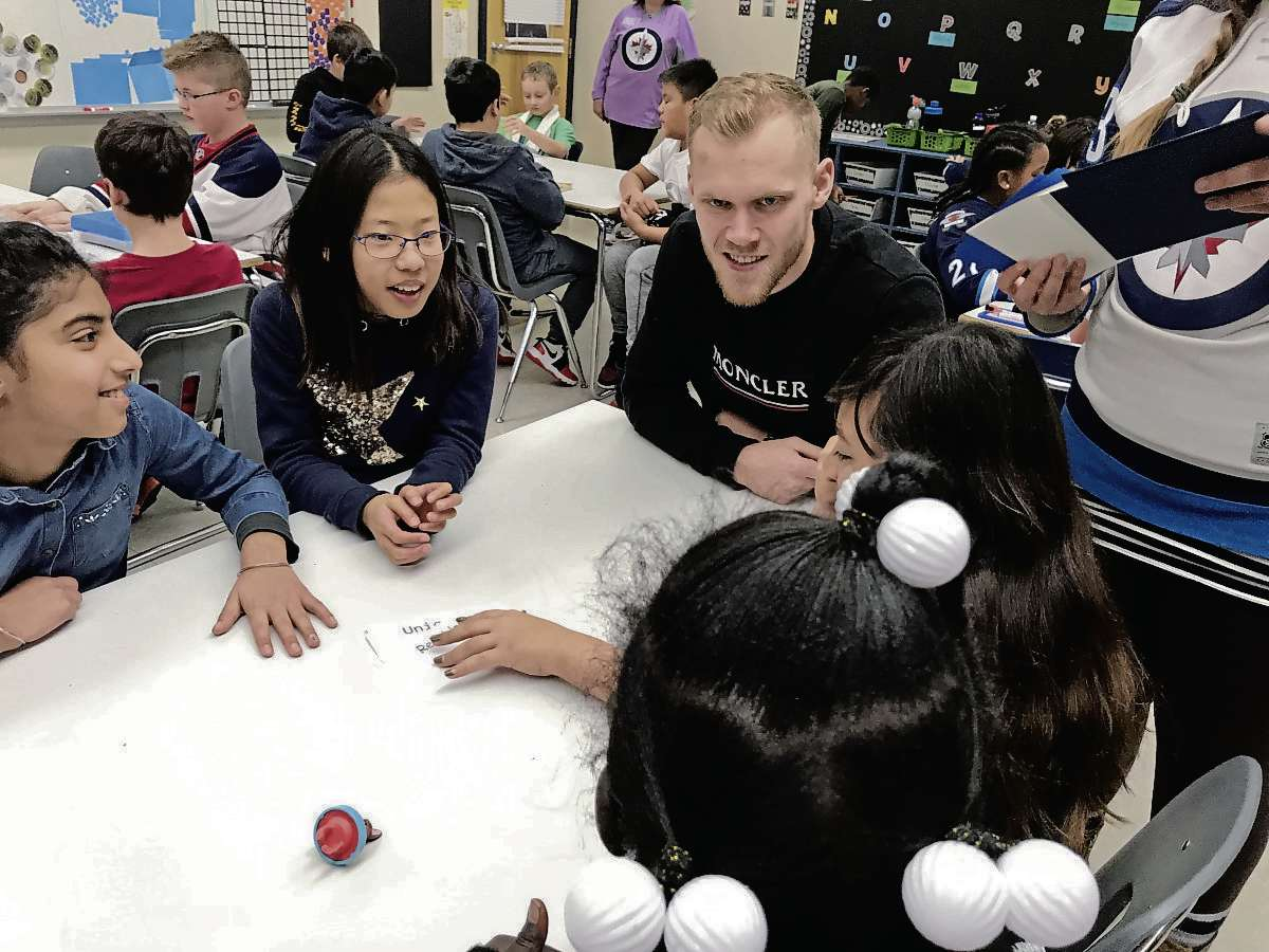 Winnipeg Jets' Nikolaj Ehlers took part in a Project 11 session with Grade 4 and 5 students at Bertrun E. Glavin Elementary (166 Antrim Rd.) on Nov. 26. Earlier that morning, the students attended the Jets practice at Bell MTS Place. (SHELDON BIRNIE/CANSTAR/THE HERALD)