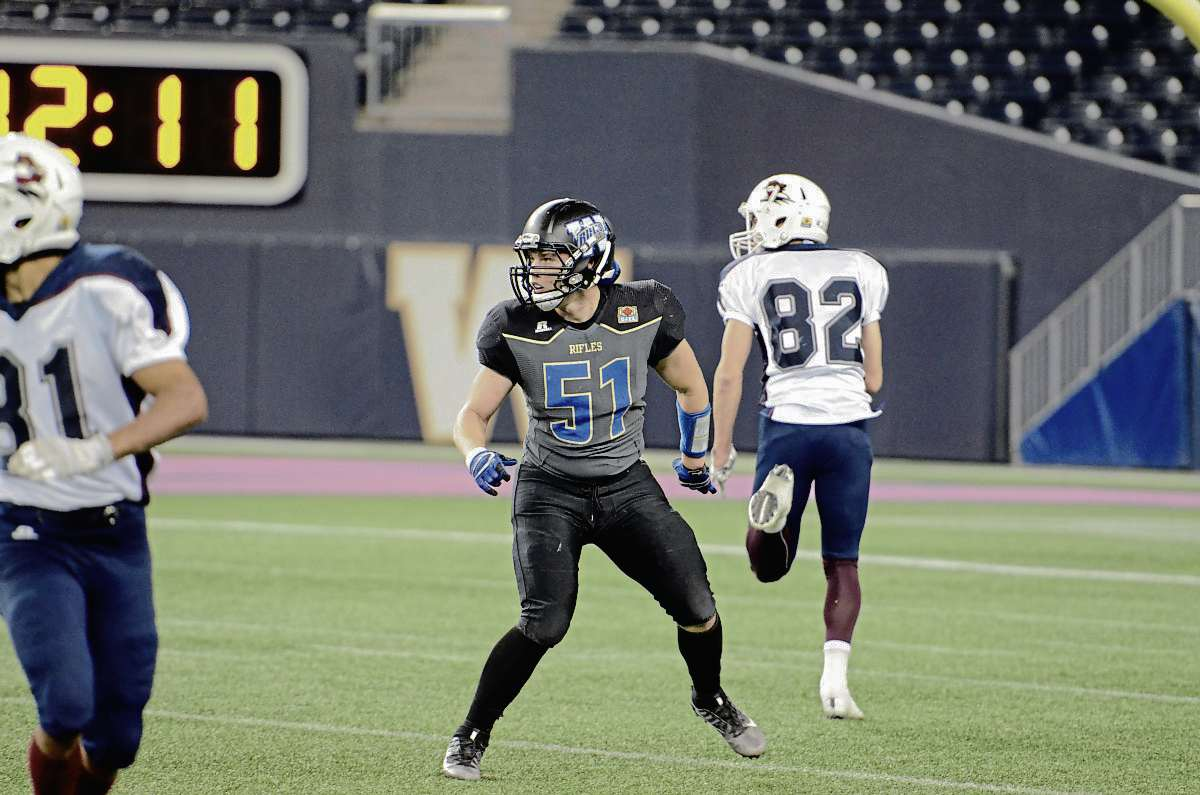 Rifles linebacker Donovan Hillary during a game against Regina on Oct. 7.