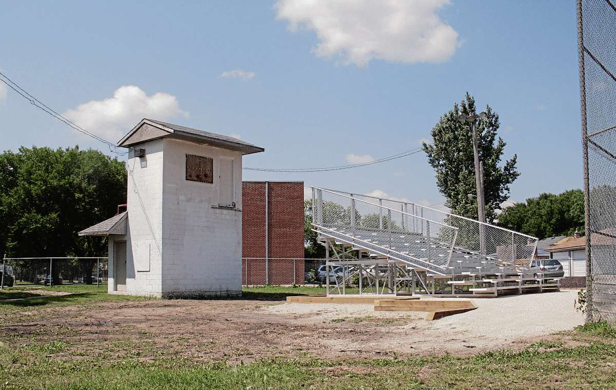 July 26, 2017 -  Work is underway on a major revamp to Transcona Stadium. Along with new bleachers, fencing, backstop, dugouts, infield fill, and lighting will be replaced, and the iconic Transcona Stadium scoreboard building will be renovated in time for the 2018 baseball season. (SHELDON BIRNIE/CANSTAR/THE HERALD)