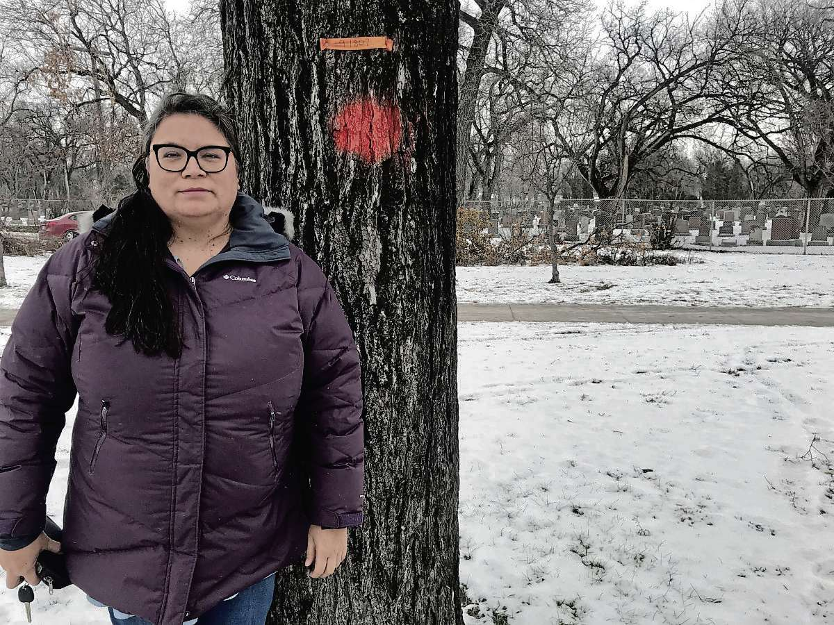 Lisa Forbes, a member of the Glenelm Neighbourhood Association (GeNA)'s tree committee, is pictured next to one of thousands of City-owned elm trees infected by Dutch elm disease. A coalition of community and resident groups are calling on the City of Winnipeg to provide more funding to the urban forestry department in the upcoming budget. (SHELDON BIRNIE/CANSTAR/THE HERALD)