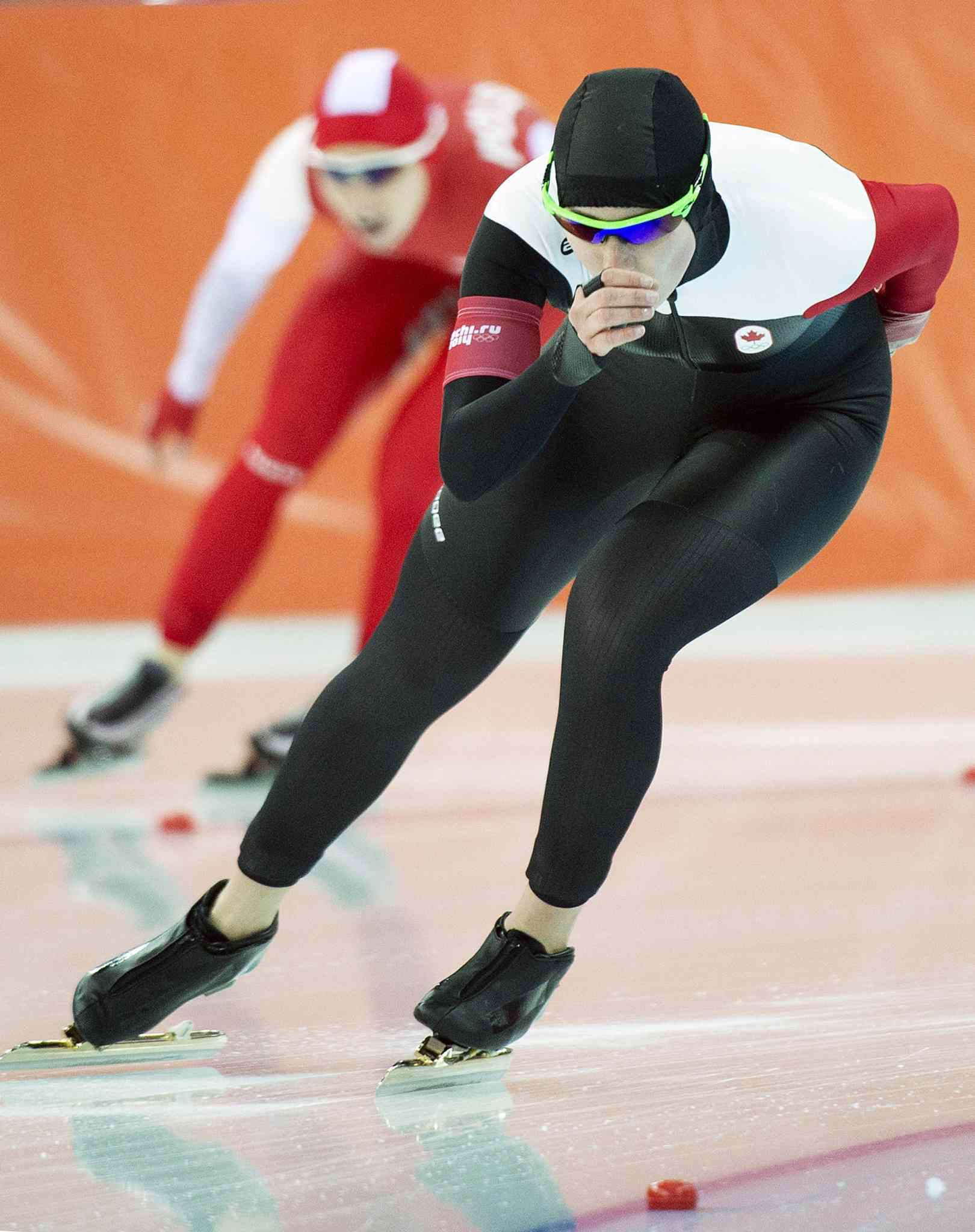 Winnipegger Brittany Schussler skates for Canada in the women's 3000m speed skating eventat the 2014 Sochi Winter Olympics.