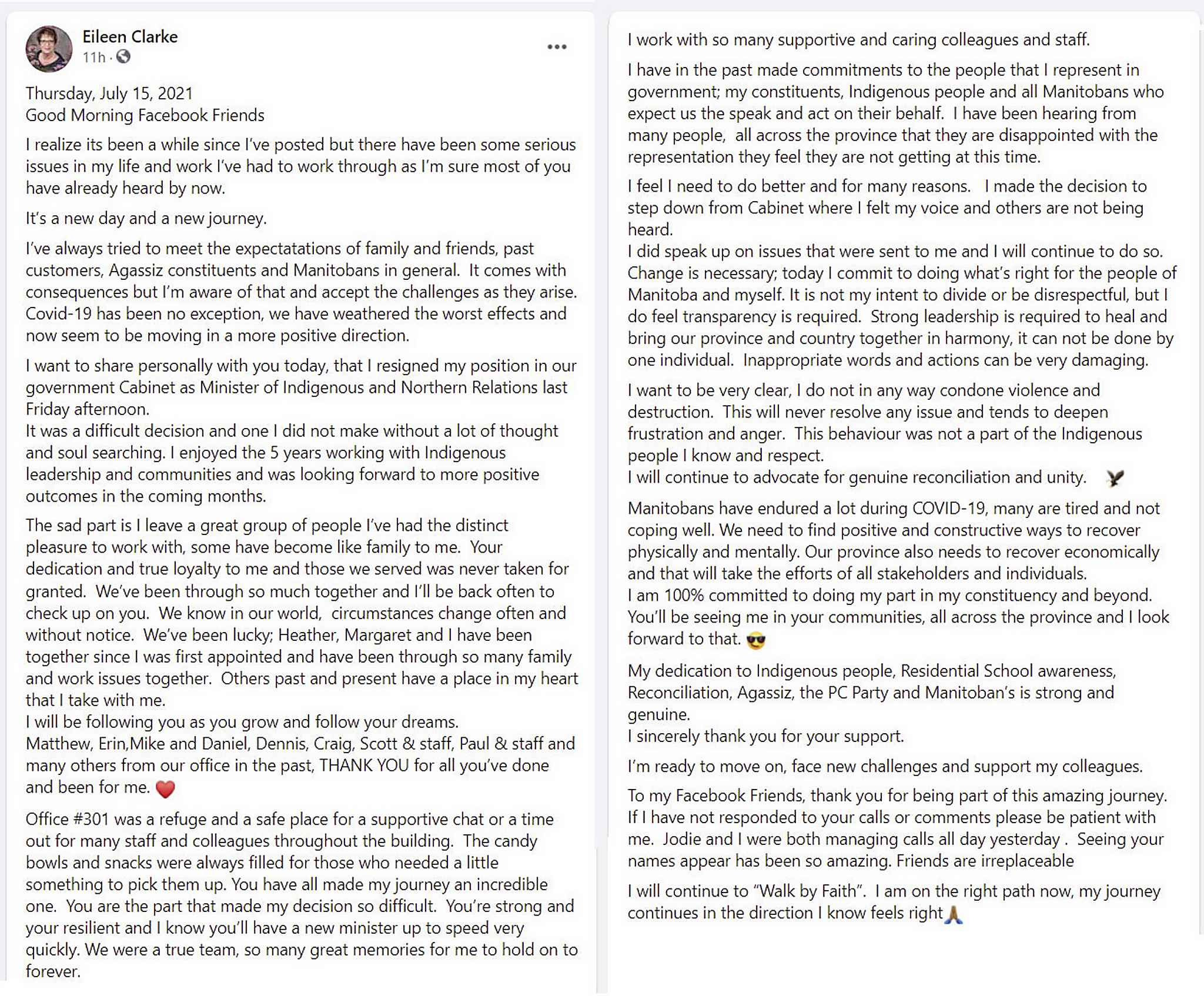A screen capture of the post Eileen Clarke wrote on her Facebook page Thursday morning.