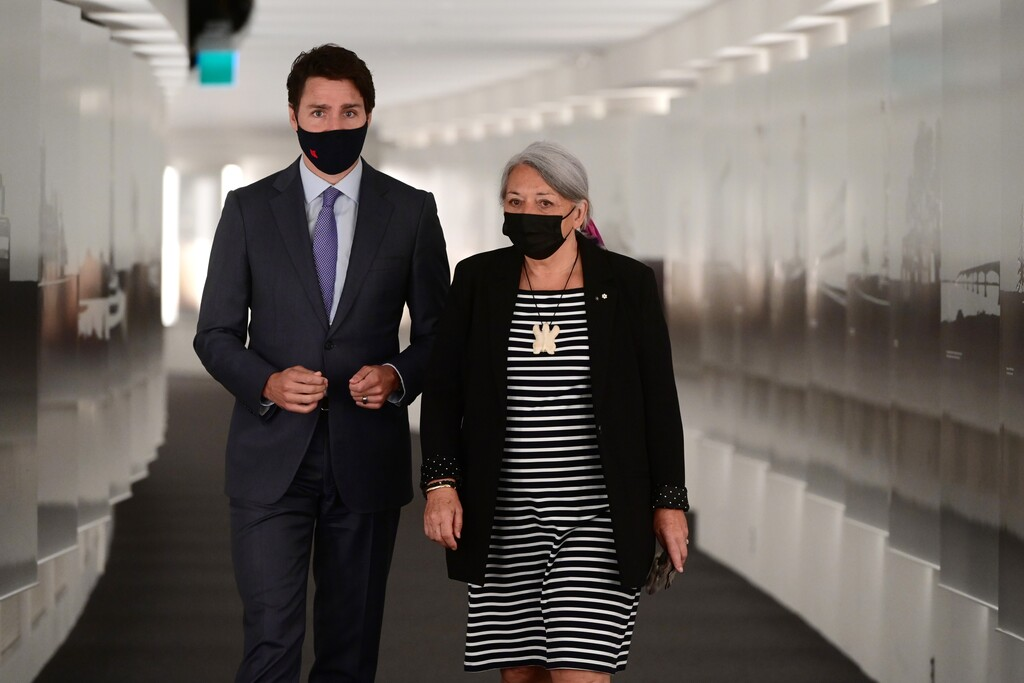 Prime Minister Justin Trudeau and Mary Simon arrive at the announcement at the Canadian Museum of History in Gatineau, Que., on Tuesday. (Sean Kilpatrick / The Canadian Press)