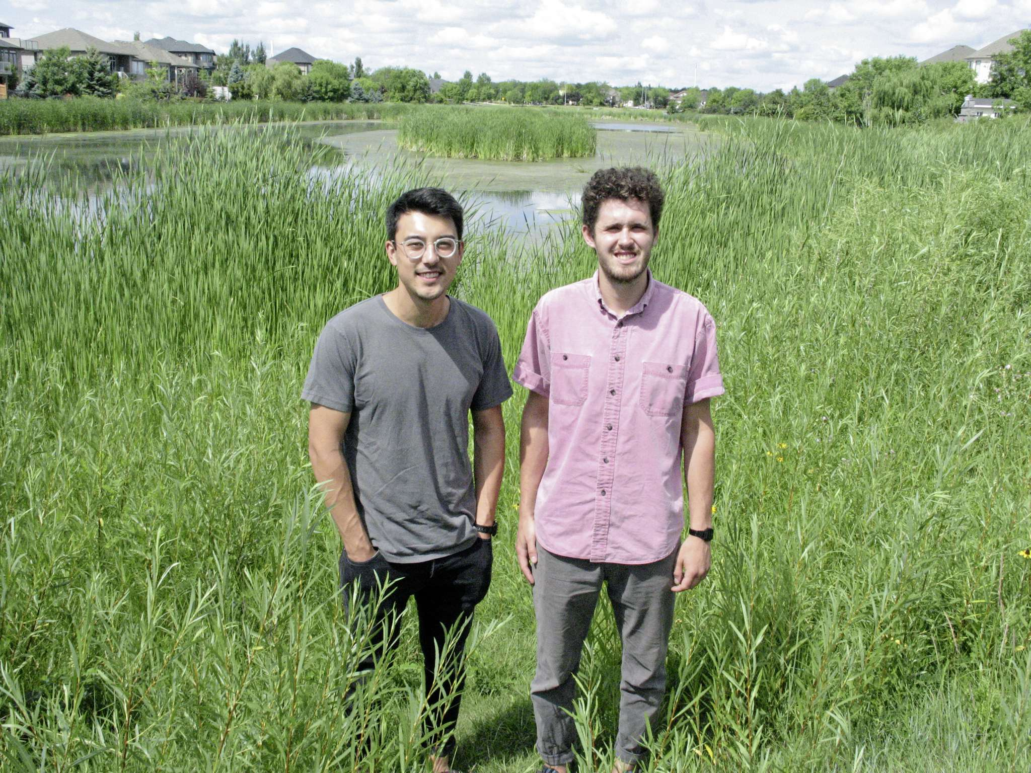 Julien Koga and Alec Massé, pictured here in Royalwood recently, are finalists in the 2020 Lake Winnipeg AquaHacking Challenge, which is being hosted by the International Institute for Sustainable Development.