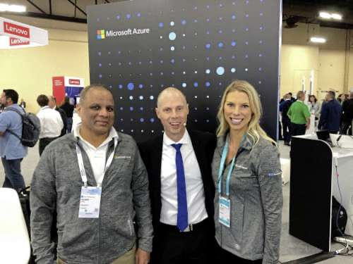 Anders Boulanger (centre) says his company's engaging presentations attract crowds of trade show attendees.