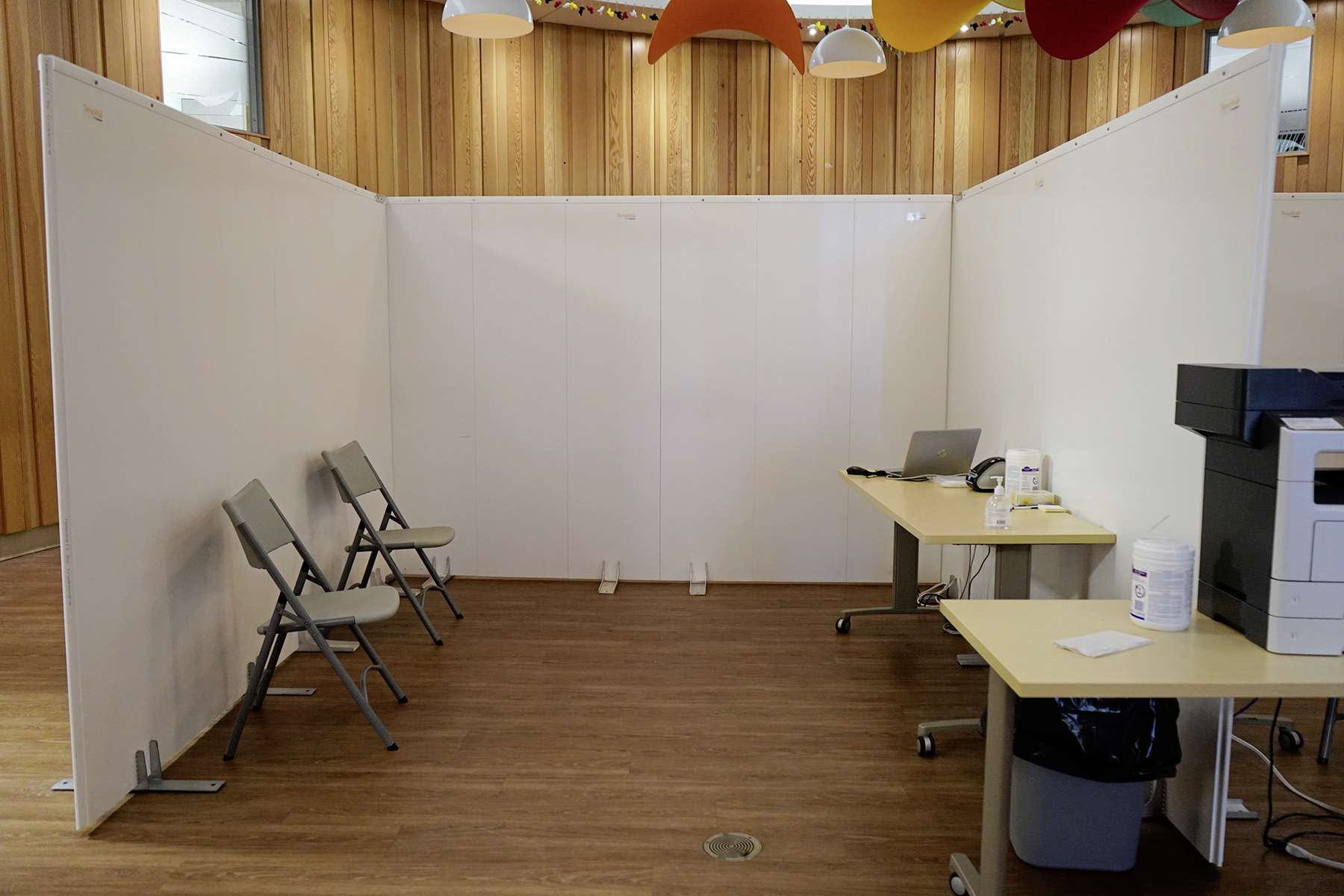 A booth where COVID-19 tests are administered at Ma Mawi Wi Chi Itata Centre at 445 King St.