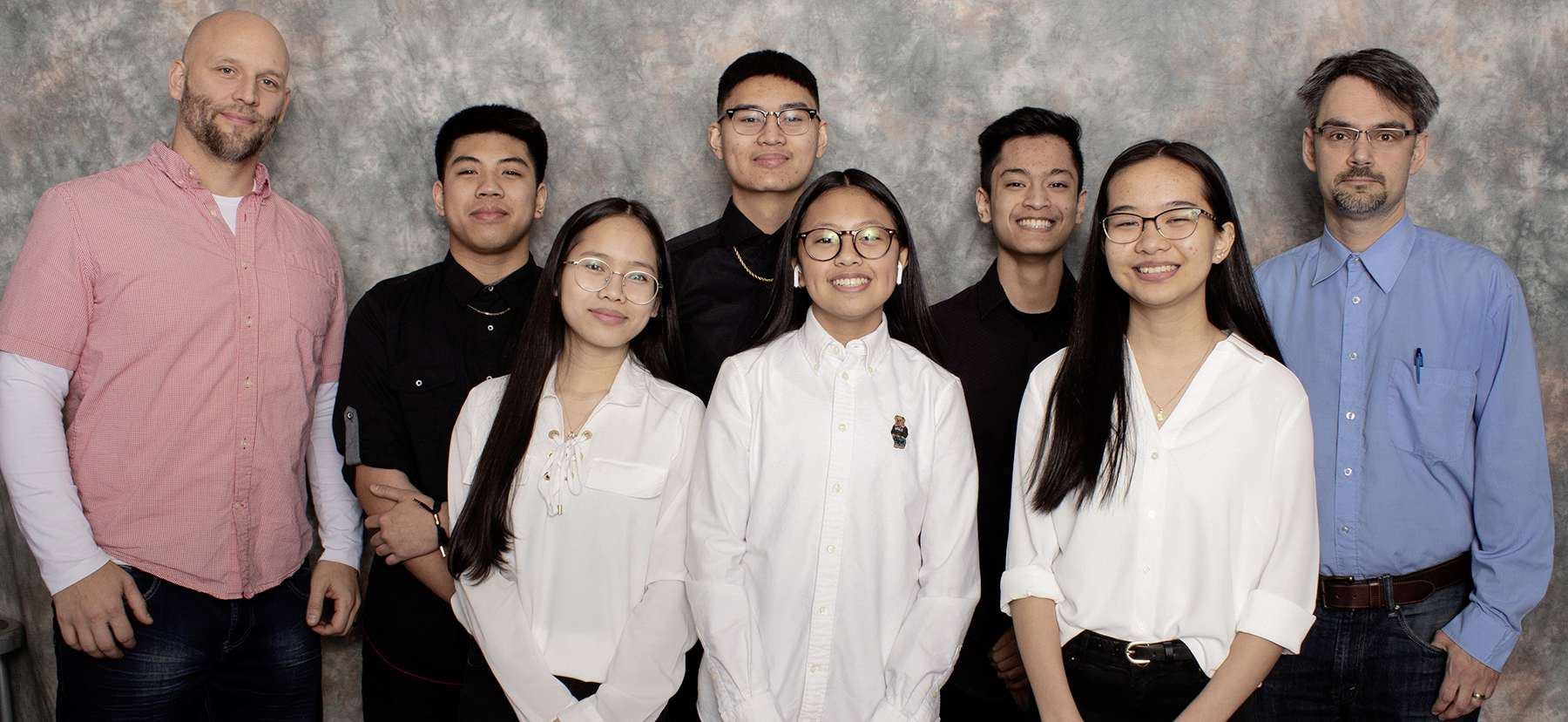 (Left to right; back to front) Members of the Sisler High School DDR1 team: coach Charles Bazilewich, Aden Borja Ho, John Bulaong, Romeo Hizon, coach Paul Buskell, Kyzha Emnacen, Ronah Rafal and Kaye Mendoza.