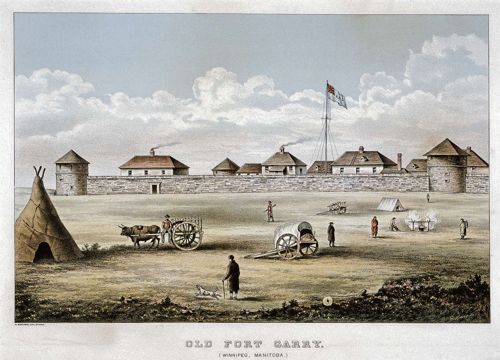 An illustration of Old Fort Garry by artist G. Kemp, which will be featured in the WAG's upcoming exhibit, Kwaata-nihtaawakihk – A Hard Birth.