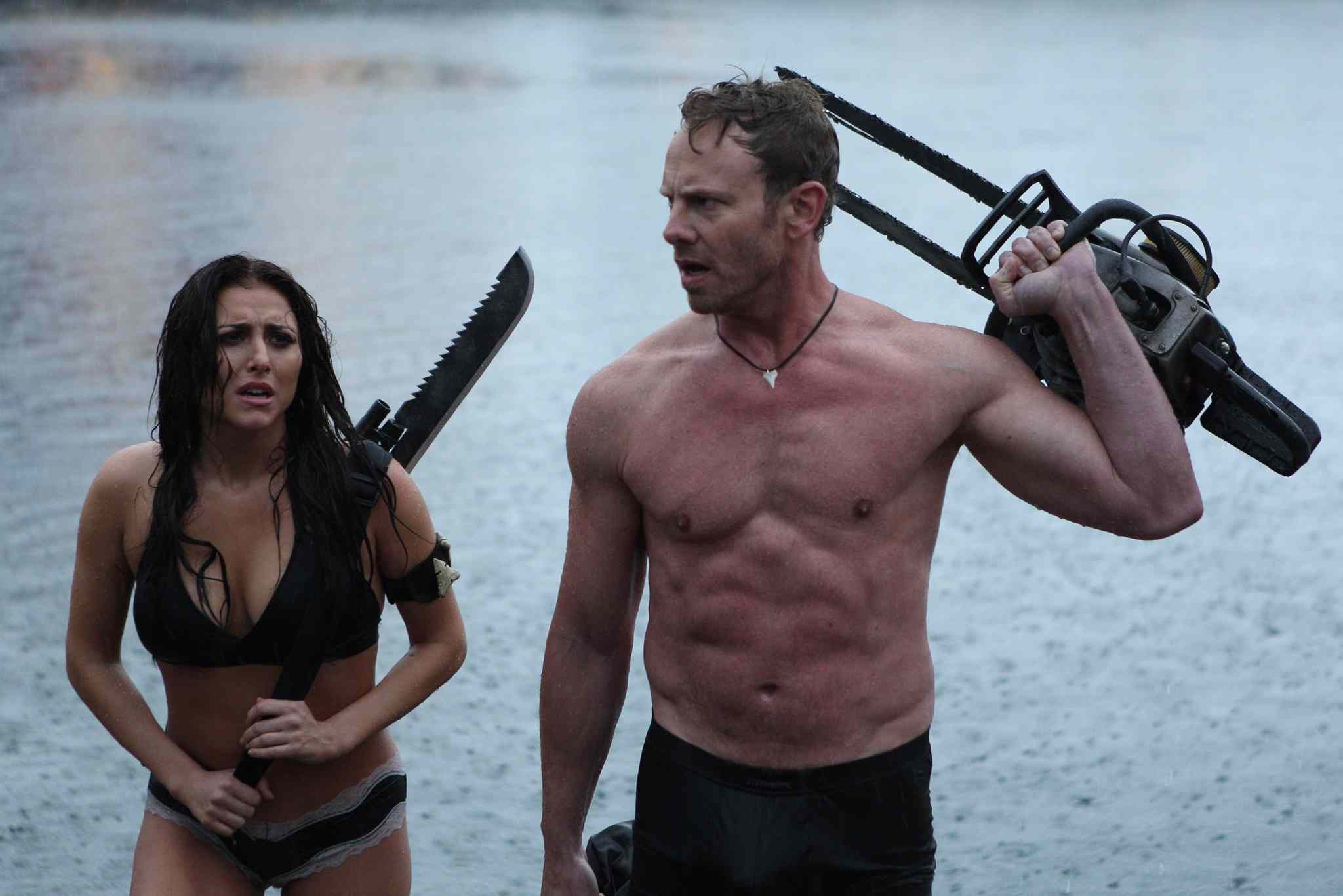Cassie Scerbo and Ian Ziering in a scene from Sharknado 3: Oh Hell No!
