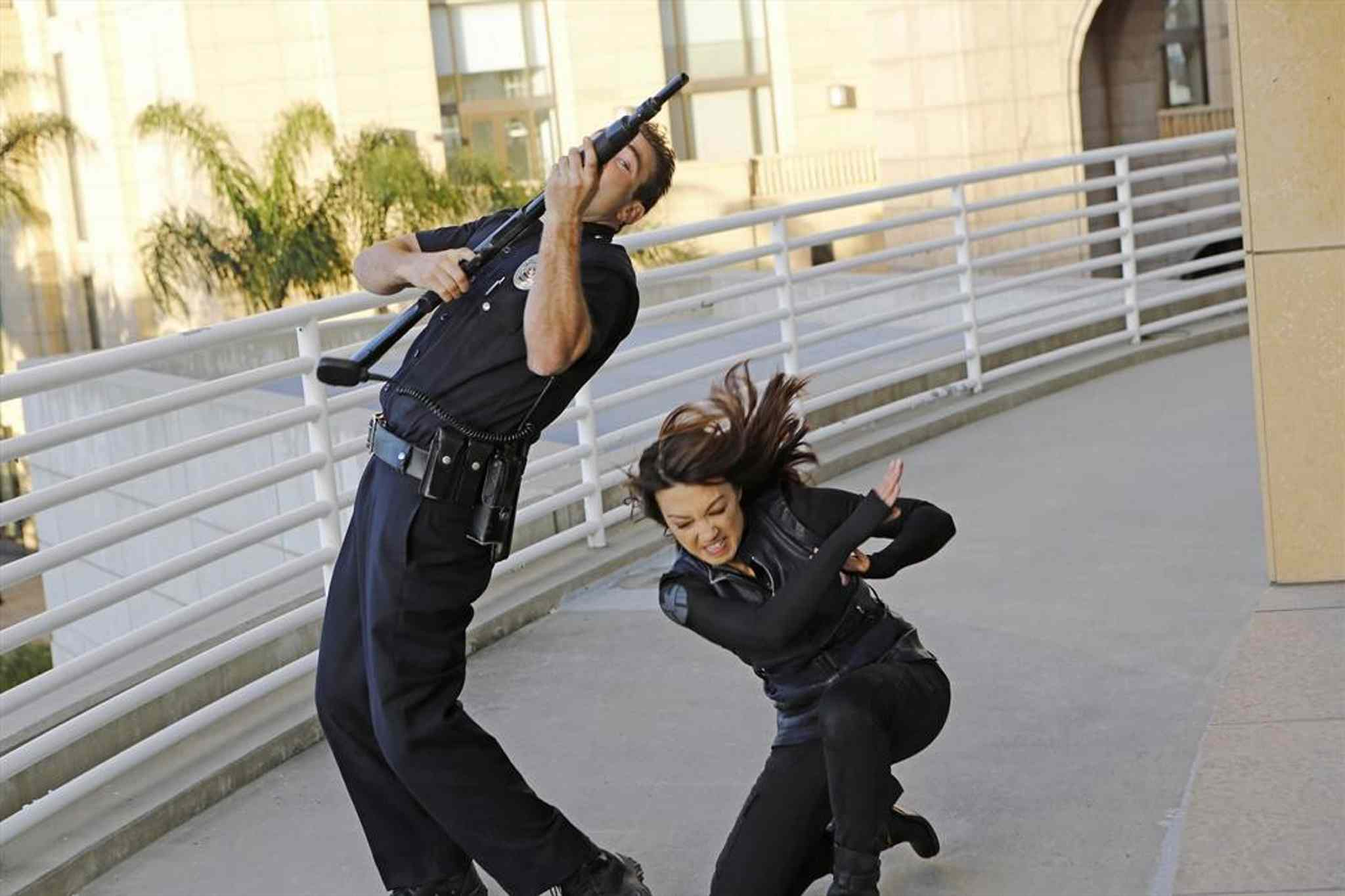 Above, Sam Hargrave and Ming-Na Wen in Marvel's Agents of S.H.I.E.L.D.