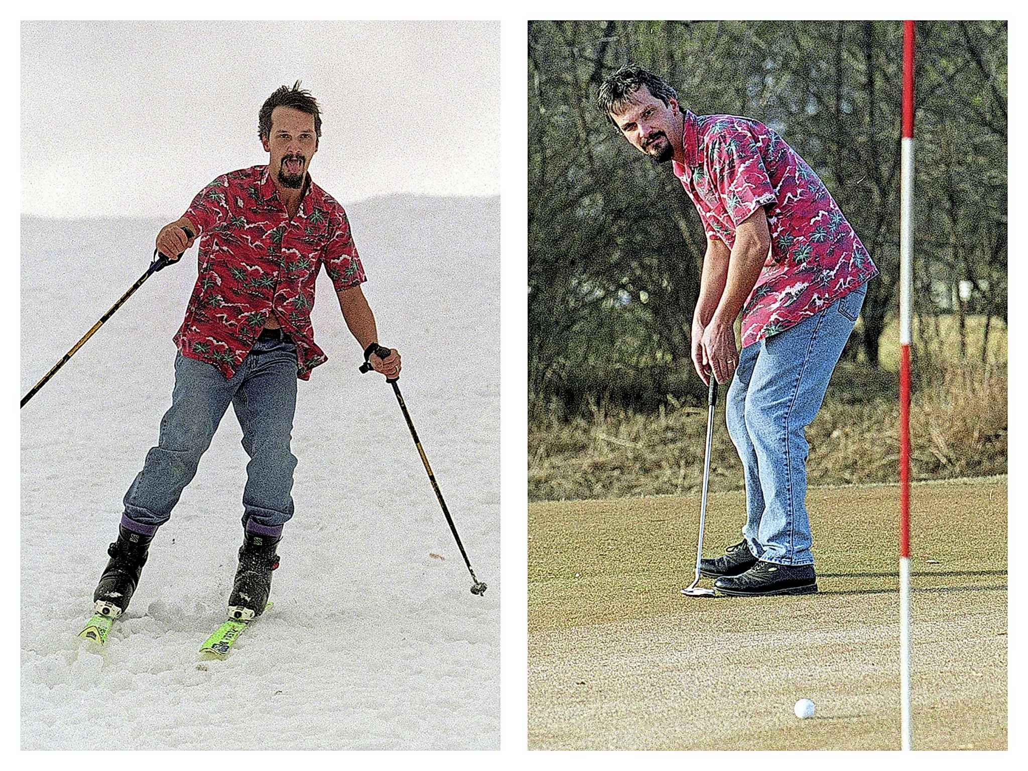 Paul Wiecek skis and golfs on the same day in December 1999.