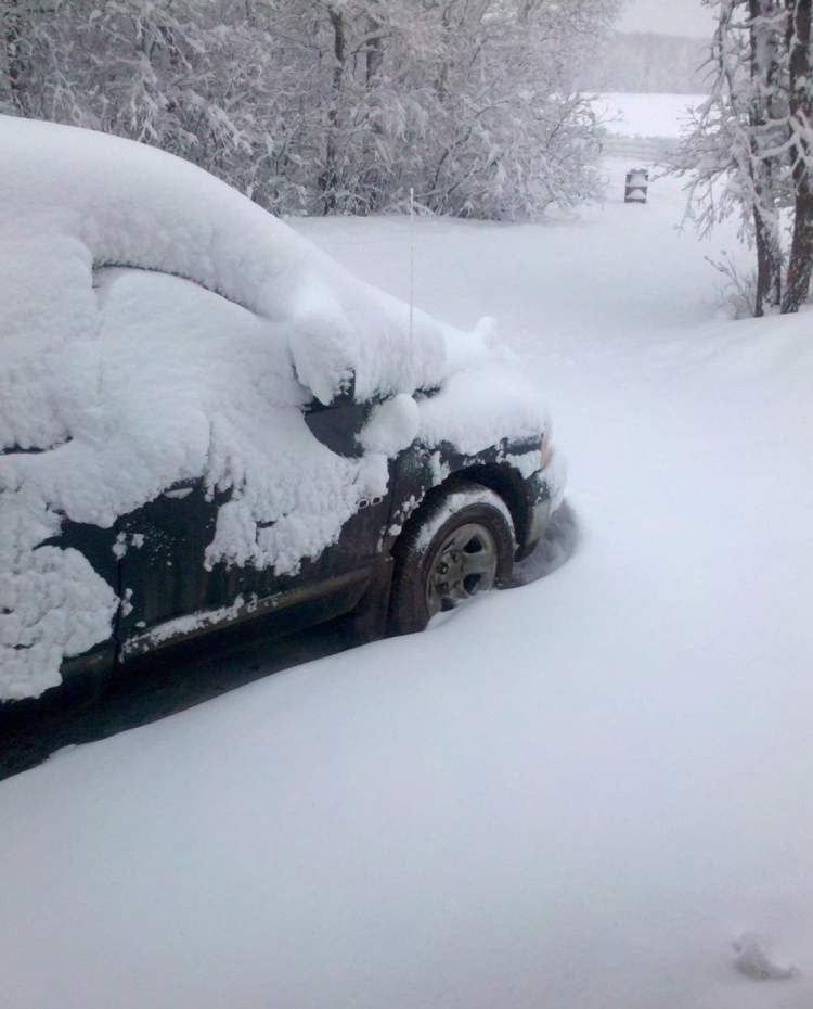 Michelle Allison snapped this shot of deep snow outside of Dauphin around 7:30 this morning.