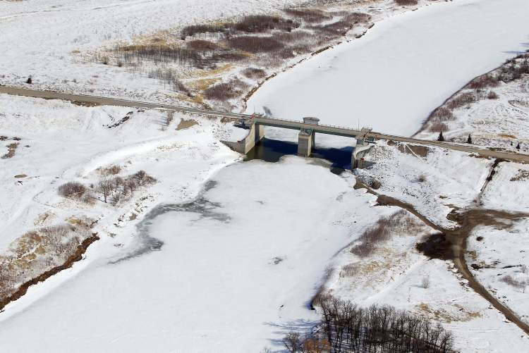 Aerial photo of the floodway gates south of Winnipeg, April 10, 2013.