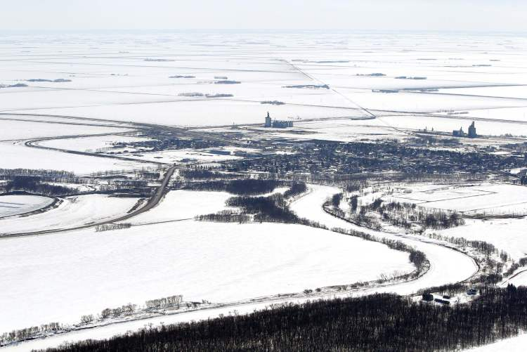 Aerial photo of Morris, MB, April 10, 2013.
