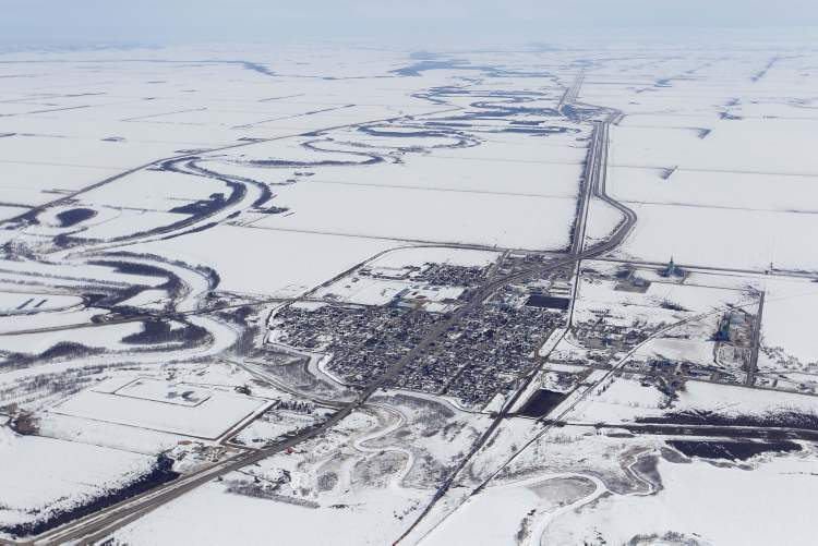 Aerial photo of Morris, April 10, 2013.