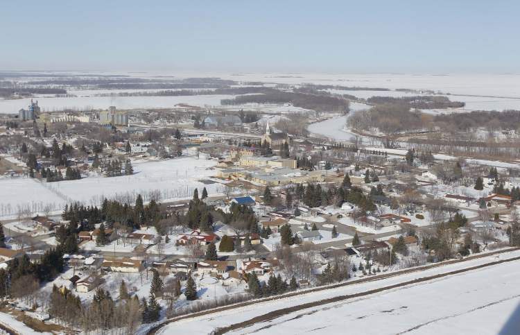 Aerial photo of St. Jean Baptiste, April 10, 2013.