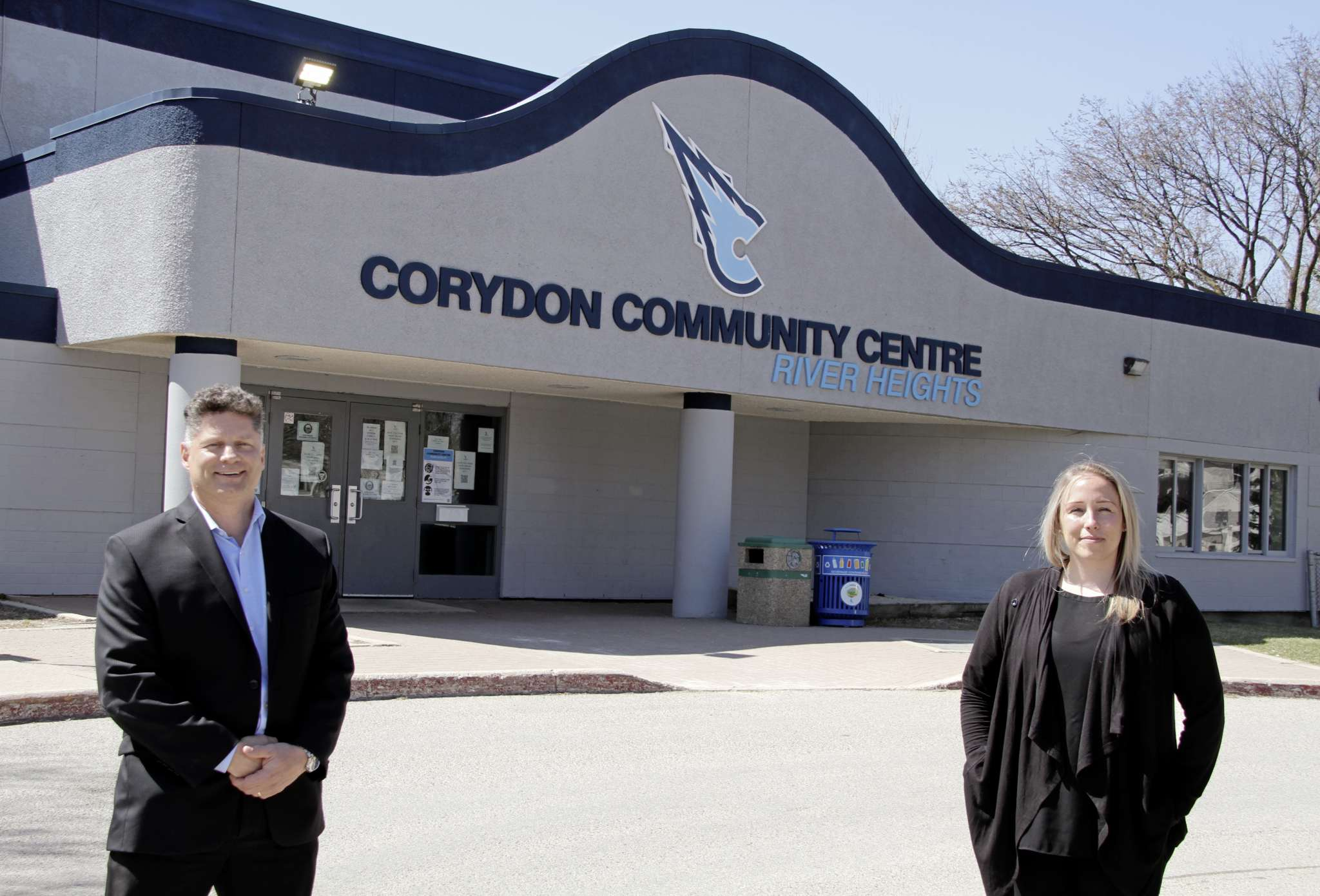 Corydon Community Centre board member Paul Krestanovich (left) and general manager Abbie Bajon outside the River Heights Arena which will see the boards around the indoor rink completely rebuilt.
