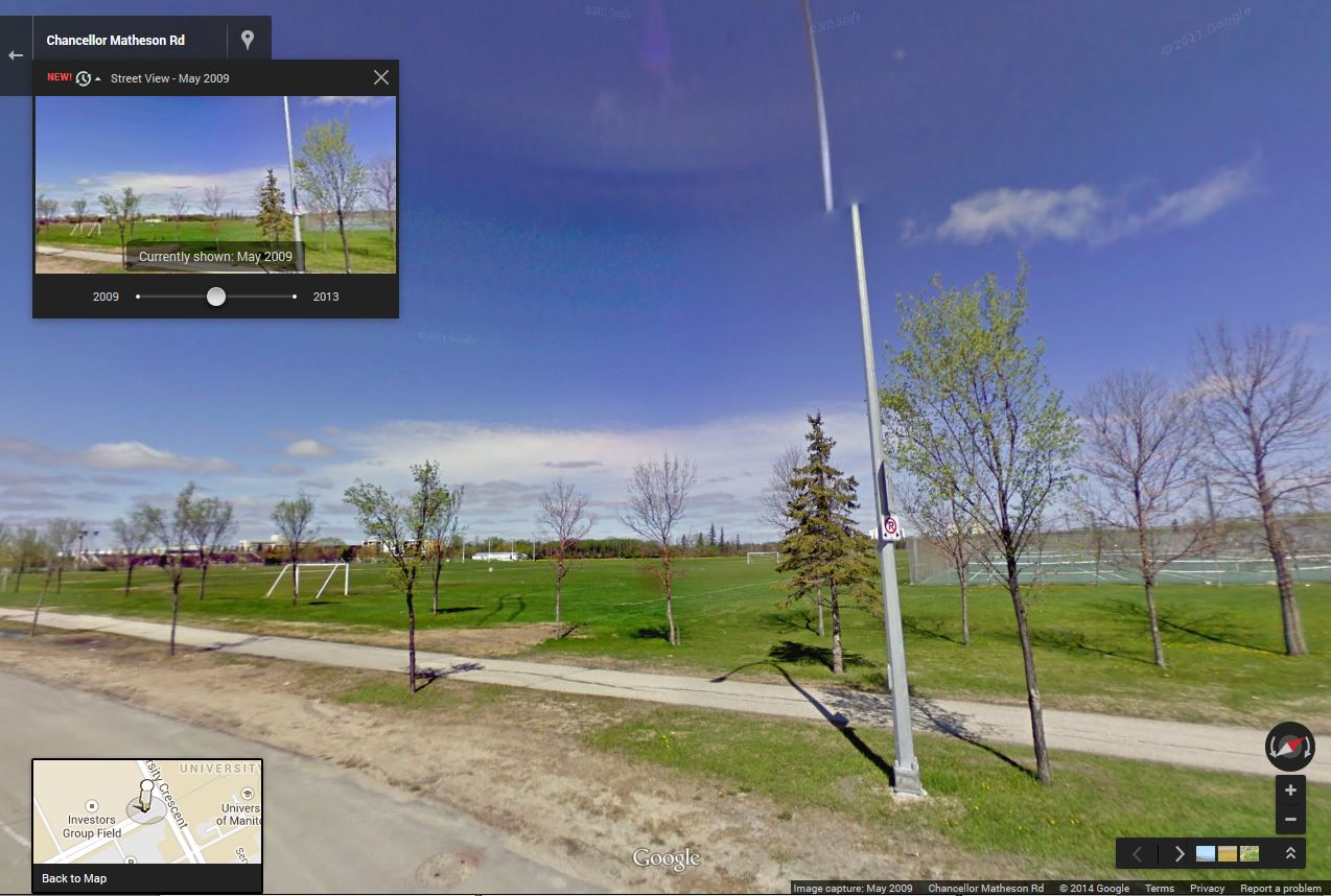 The site of the new stadium is just a field of dreams in 2009.  (Google)