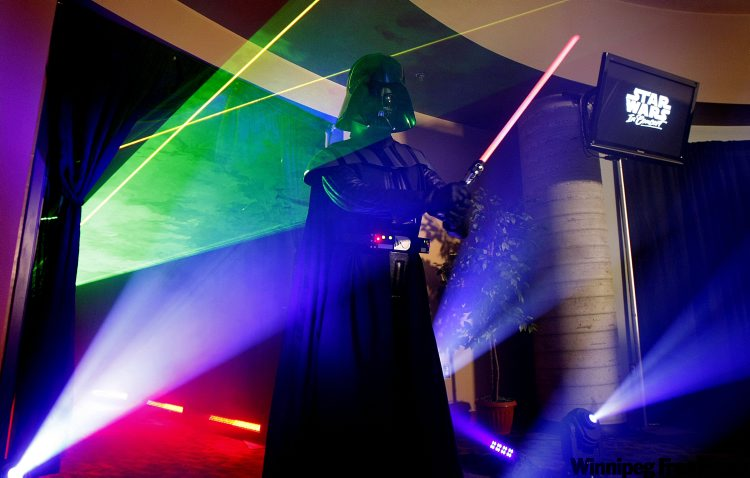 A costumed Darth Vader impersonator helped launch the announcement of Star Wars: in Concert at the MTS Centre Monday afternoon. The massive multimedia event will feature stunning visuals, live orchestra, choir and narration, plus an exclusive exhibit of Star Wars costumes, props and production artwork.