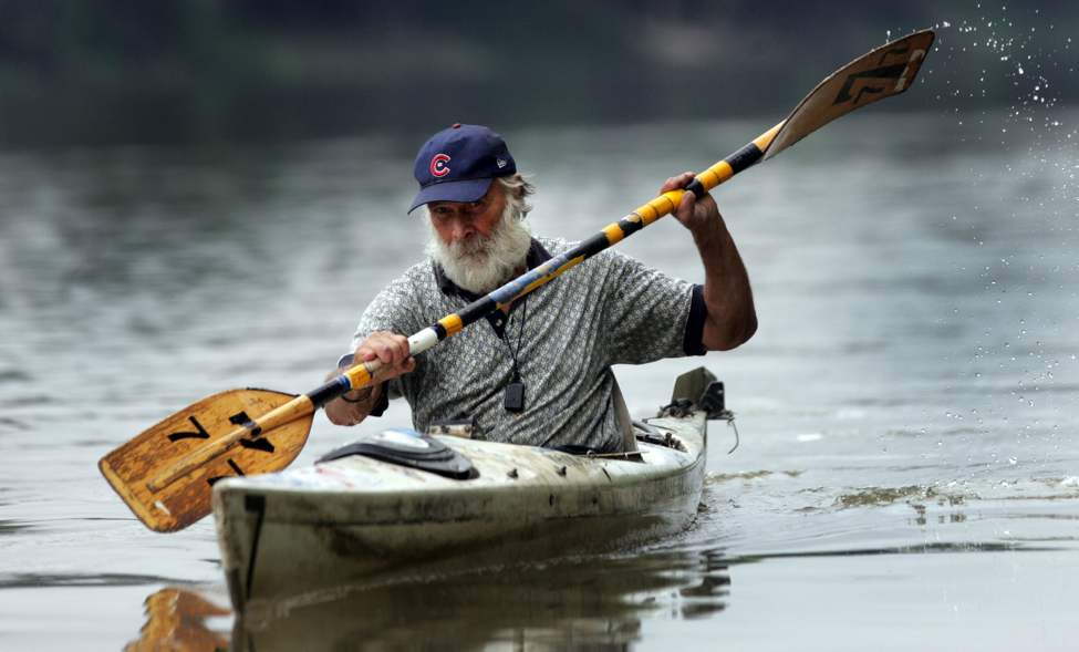 Don Starkell in his 19-year-old sea kayak on the Red River. August 24, 2009 