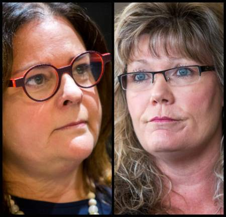 Candidates for the leadership of the Manitoba Progressive Conservative party Heather Stefanson, left, and Shelly Glover. (Mikaela Mackenzie / Winnipeg Free Press)
