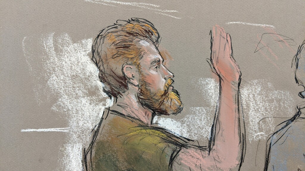 A court sketch of Patrik Mathews from January. (William J. Hennessy Jr.)